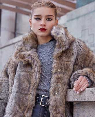 The Kooples Grey faux fur coat with high neck