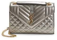 Saint Laurent Women's Medium Envelope Monogram Matelassé Metallic Leather Shoulder Bag