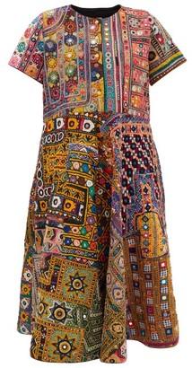 Ashish Banjara Mirrorwork Vintage-cotton Midi Dress - Womens - Multi