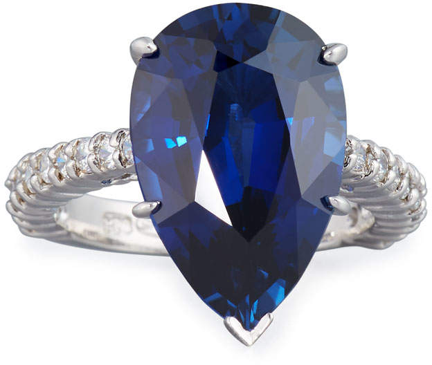 Large Pear-Cut Synthetic Sapphire Ring