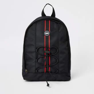 River Island Boys black RVR tape large backpack