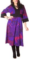 Aller Simplement Purple & Pink Medallion Midi Dress - Plus