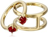 Rebecca Minkoff Stone Puzzle Gold With Garnet Ring, Size 7