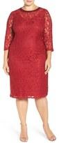 London Times Plus Size Women's Beaded Lace Midi Dress