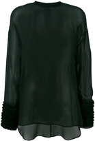 Cédric Charlier gathered cuffs sheer blouse - women - Silk/Polyamide/Acetate - 42