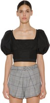 Self-Portrait Self Portrait BALLOON SLEEVES OTTOMAN CROPPED TOP