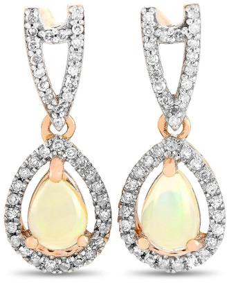 Non Branded 14K Rose Gold 0.71 Ct. Tw. Diamond & Opal Earrings