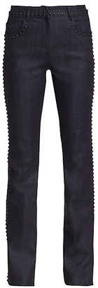 Giambattista Valli Studded Chambray Wool Trousers