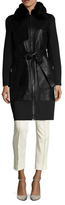 Zac Posen Beverly Fur Trimmed Leather Coat