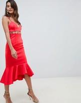 Asos Design DESIGN metal insert pephem midi dress