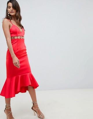 ASOS DESIGN metal insert pephem midi dress