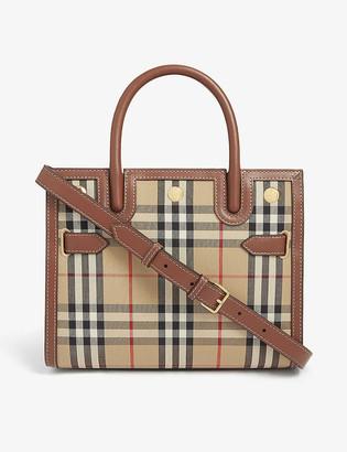 Burberry Title check mini top handle bag