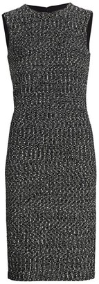 St. John Marled Ribbon Tweed Knit Sheath Dress