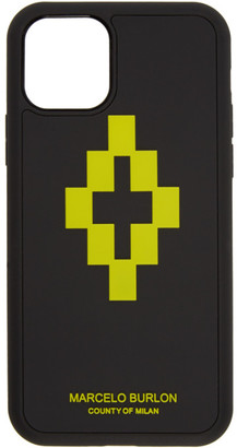 Marcelo Burlon County of Milan Black and Lime 3D Cross iPhone 11 Pro Case