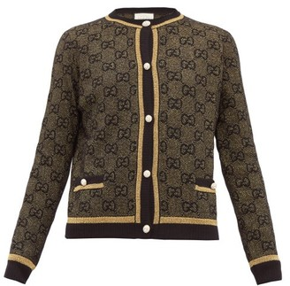 Gucci Lame Gg-jacquard Wool-blend Cardigan - Womens - Black Gold