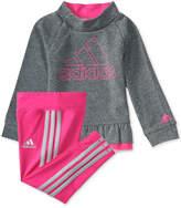 adidas 2-Pc. Heathered Pullover Sweatshirt and Pants Set, Little Girls (4-6X)