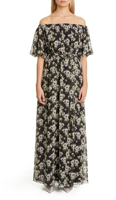 Adam Lippes Floral Print Off the Shoulder Maxi Dress