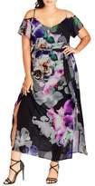 City Chic Floral Print Cold Shoulder Maxi Dress