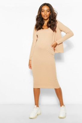 boohoo Maternity 3 Pc Cardigan And Skirt Co-Ord Set