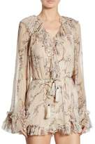 Zimmermann Paradiso Ruffled Floral-Print Silk Romper