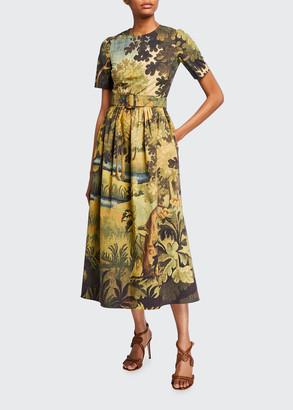 Oscar de la Renta Tapestry-Print Poplin Midi Dress
