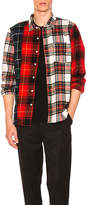 Stussy Mixed Tartan Button Down in Red. - size L (also in M,S)