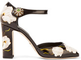 Dolce & Gabbana Embellished Printed Leather Mary Jane Pumps - Black