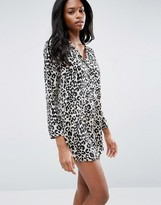 Asos Satin Nightshirt In Natural Leopard Print