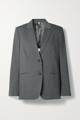 Helmut Lang Open-back Belted Wool-blend Blazer - Gray