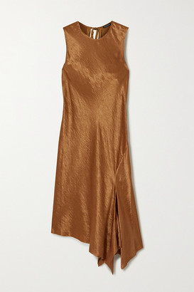 Ann Demeulemeester Tie-detailed Asymmetric Hammered-satin Dress - Beige