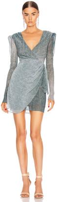 PatBO Ombre Lurex Faux Wrap Mini Dress in Cyan | FWRD