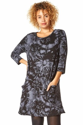 Roman Originals Women Tie Dye Print Front Pocket Detail Swing Dress - Ladies Smart Casual Work from Home Business 3/4 Sleeve Slouch Jersey Stretch Dresses - Dark-Grey - Size 18