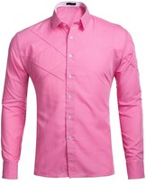 Xi Peng Men's Casual Business Solid Long Sleeve Fitted Button Down Dress Shirts