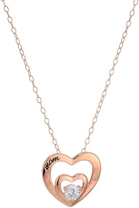 Amazon Collection Women's Sterling Silver AAA Cubic Zirconia Mom Double Heart Pendant Necklace