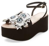 Aperlaï Floral Suede Platform Sandal