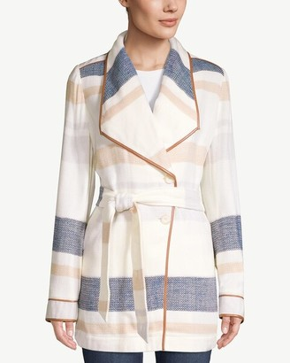 Chico's Plush Striped Blanket Trench Coat