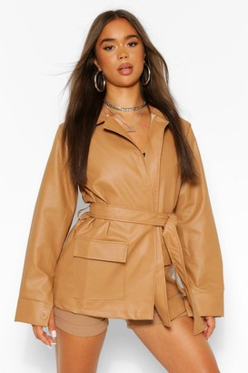 boohoo Collared Belted Faux Leather Jacket