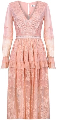True Decadence Dusty Peach Lace Midi Dress