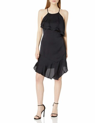 Bebe Women's Satin Slip Dress with Ruffle Front