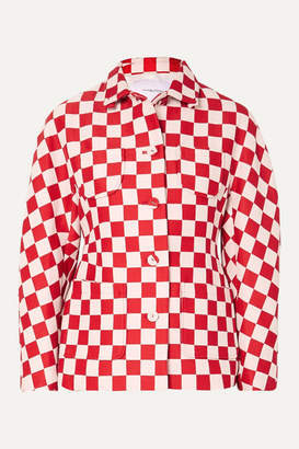 Pushbutton - Checked Wool-blend Jacket - Red