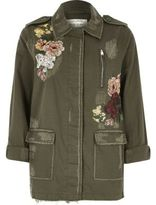 River Island Womens Khaki floral embroidered army jacket