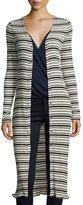 Three Dots Long Snap-Front Striped Cardigan, Black Pattern