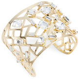 RJ Graziano Faceted Crystal Cutout Goldtone Cuff