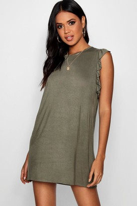 boohoo Ruffle Detail Jersey Shift Dress