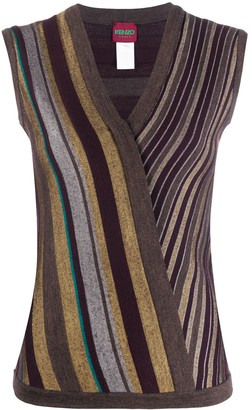 Kenzo Pre Owned 2000s Crisscross Striped Knitted Vest