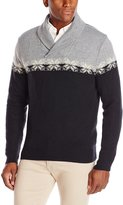 Haggar Men's Colorblock Fairisle Pattern Shawl Collar Sweater