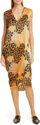 Zero Maria Cornejo Curve Lui Mixed Print Stretch Silk Midi Dress