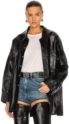 R 13 Leather Oversized Cowboy Shirt in Thin Black   FWRD