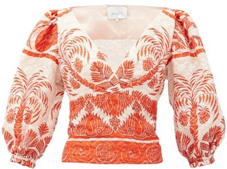 Johanna Ortiz Astral Transit Silk-blend Cloque Blouse - Orange Multi