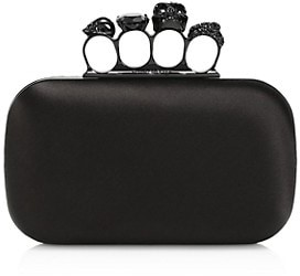 Alexander McQueen Skull Four-Ring Leather Box Clutch